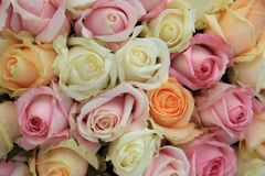 Mixed rose bridal bouquet stock images