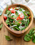 Mixed salad. With cherry tomatoes,rucola salad,mangold and parmigiano in a wooden dish Royalty Free Stock Image