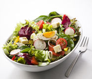 Mixed salad. Fresh mixed salad with egg close up Royalty Free Stock Photos