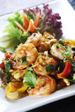 Mixed salad. With vegetables and grilled prawns Royalty Free Stock Photography