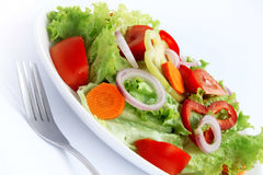 Mixed salad. Salad with fresh vegetables,onion and carrots,healthy food royalty free stock photography