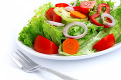 Mixed salad. Salad with fresh vegetables,onion and carrots,healthy food Royalty Free Stock Images