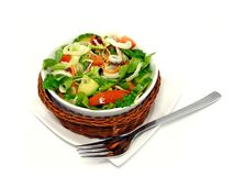 A mixed salad in a basket Stock Photo