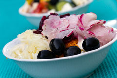 Mixed Salad with cabbage, radish, black olives Royalty Free Stock Photography