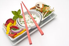 Mixed salad with chopsticks Royalty Free Stock Photography
