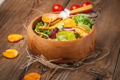 Mixed salad with croutons. Royalty Free Stock Photography