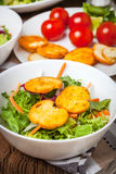 Mixed salad with croutons. Royalty Free Stock Image