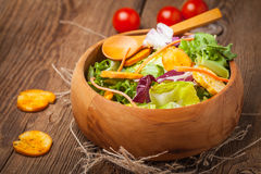 Mixed salad with croutons. Royalty Free Stock Photos
