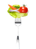 Mixed salad on fork Royalty Free Stock Images