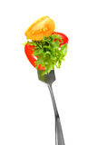Mixed salad on fork Royalty Free Stock Photos