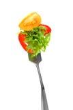 Mixed salad on fork Royalty Free Stock Photos