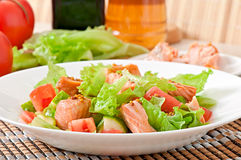 Mixed salad of fresh vegetables with pieces of salmon Royalty Free Stock Photo