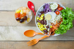 Mixed  salad. Fruit salad topping on tofu Royalty Free Stock Image