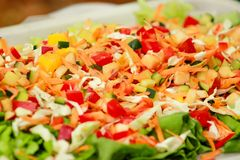 Mixed salad of fruits and vegetables and various flavors. Mixed salad of fruits and vegetables and various flavors: fresh tomatoes, cucumbers, cabbage, green stock photo