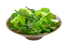Mixed Salad Greens over white Stock Photos