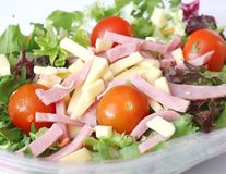 Mixed salad with ham and cheese Royalty Free Stock Image