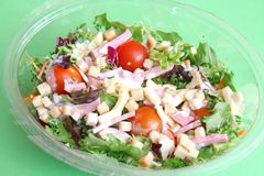 Mixed salad with ham and cheese Stock Image