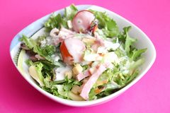 Mixed salad with ham and cheese Stock Photo