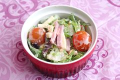 Mixed salad with ham and cheese Stock Photos