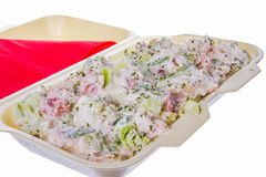 Mixed salad with ham cucumber and sour cream Royalty Free Stock Photography