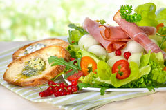 Mixed salad with ham Royalty Free Stock Images