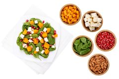 Mixed salad and ingredients stock images