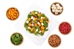 Mixed salad and ingredients royalty free stock photography