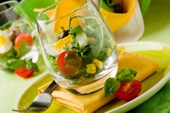 Mixed Salad inside a Glass Stock Photos