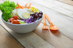 Mixed  salad. Salad with lettuce and fresh vegetable close up Stock Photo