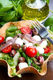 Mixed salad with mozzarella and anchovy in a bread basket. A mixed salad with mozzarella and anchovy in a bread basket Stock Photography