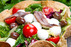 Mixed salad with mozzarella and anchovy. In a bread basket Stock Image
