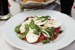 Mixed salad with mozzarella and tomatoes royalty free stock photography