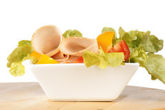 Mixed salad with roast turkey Stock Photos
