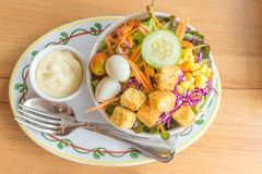 Mixed salad with salad cream. Dressing Royalty Free Stock Image