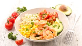 Mixed salad with shrimp. In bowl Stock Photography