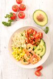 Mixed salad with shrimp. Top view Royalty Free Stock Image