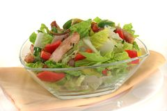 Mixed salad with strips of turkey Royalty Free Stock Photos