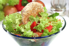 Mixed salad with toast. In a bowl stock photo