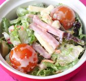 Mixed salad with tomatoes, cheese and ham Stock Photo