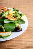 Fresh Vegetable Salad Half on Bamboo Placemat Stock Photos