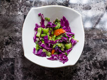 Mixed salad on white plate. Mixed salad with red cabbage, tomatoes, parsleys, and celeries Royalty Free Stock Images
