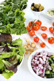 Mixed salad on white table Stock Image