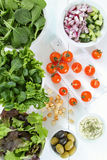 Mixed salad on white table Royalty Free Stock Image