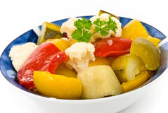 Mixed Salad With Bell Pepper,eddplant,cauliflower Stock Image