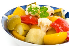 Mixed Salad With Bell Pepper,eggplant,cauliflower Stock Image