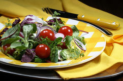 Mixed salad on a yellow plate Stock Image