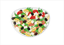 Mixed salad with yellow and red tomatoes, olives, rocket and che Royalty Free Stock Photo