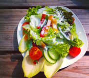 Mixed salad with yogurt dressing Royalty Free Stock Photography