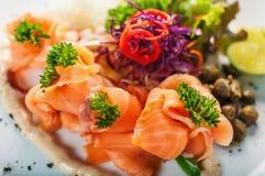 Mixed sashimi. Palatter in japanese restaurant stock images