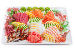 Mixed sashimi, raw fish already for eat Royalty Free Stock Image